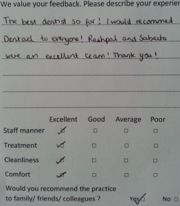 greenford dentist testimonial