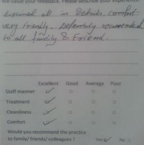 Testimonial for Greenford Dentist