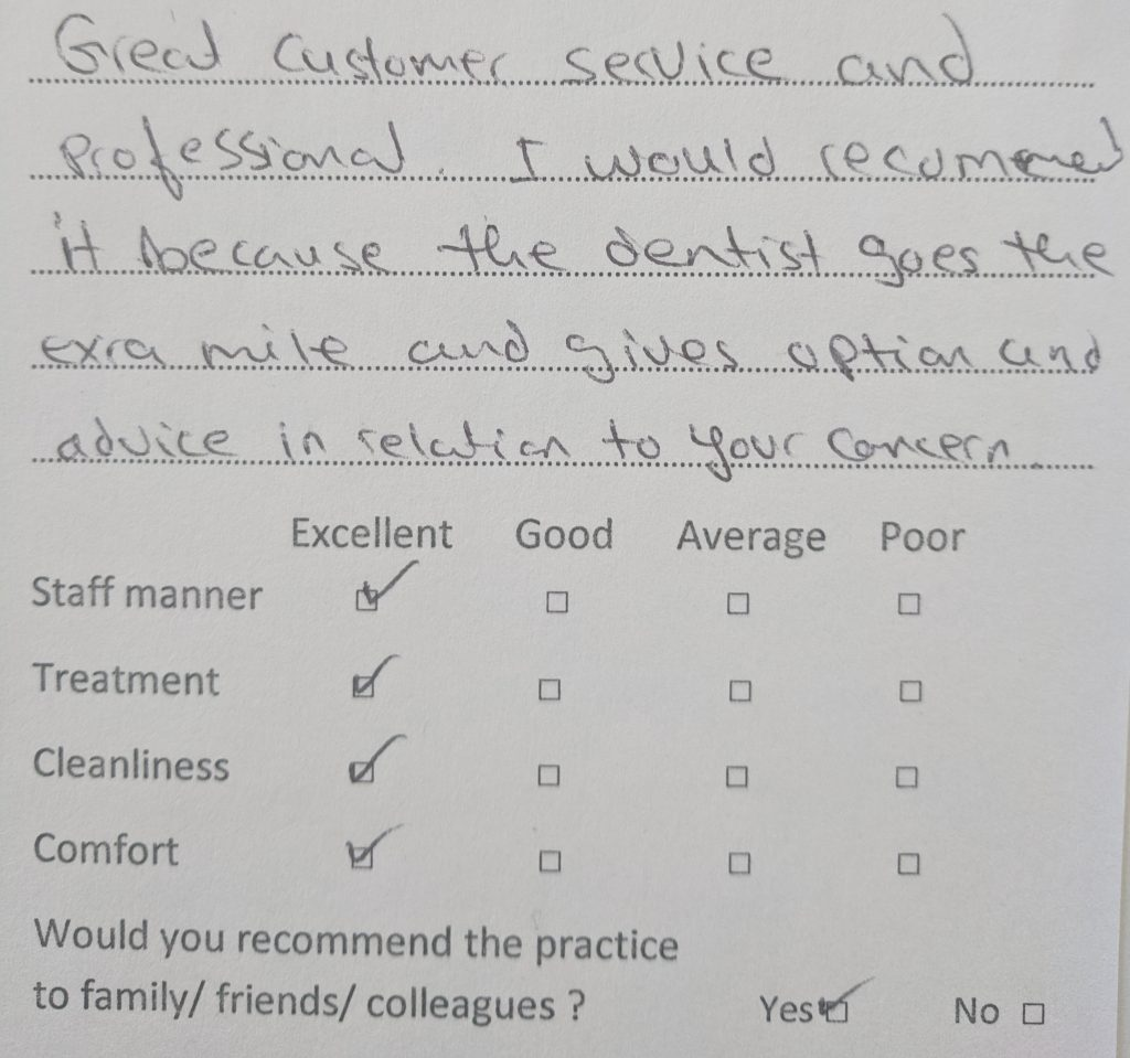 patient review ealing dentist